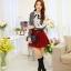 แฟชั่นเกาหลี เสื้อผ้าคอตตอน ทอลายตารางเล็กๆ สีดำขาว แขนยาว หน้าอกเสื้อแต่งด้วยผ้าถักวงกลมสีขาว thumbnail 6