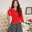 แฟชั่นเกาหลี set เสื้อสูท สีแดง และกระโปรง สวยมากๆ thumbnail 2