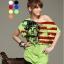 เสื้อยืดแฟชั่น ชายเสื้อดึงยาง ลาย Liberty Flag สีเขียว (คอปกติ ไม่กว้าง ไม่เปิดไหล่) thumbnail 1