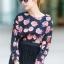 เสื้อผ้าแฟชั่น สุด Chic เสื้อแฟชั่นแขนยาว ผ้าเกาหลี ลายดอกกุหลาบ รหัส 9008_3 thumbnail 1