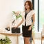 ชุดเดรสทำงาน ชุดเดรสชีฟอง ชนิดหนา สีดำ ตัวเสื้อด้านหน้าสีขาว ดีไซน์เหมือนใส่เสื้อคลุม พร้อมเข็มขัดสีขาว thumbnail 5