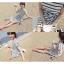 DRESS ชุดเดรสแฟชั่นเกาหลี แขนสั้น ผ้าคอตตอน ลายทาง ขาว ดำ คอกลม ใส่ทำงาน เที่ยว เชือกผูกเอวติดกับลำตัว สวย น่ารักมากๆ ครับ thaishoponline (พร้อมส่ง) thumbnail 4
