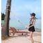 ชุดว่ายน้ำวันพีช ตัวเสื้อลายทางขาวดำ กระโปรงสีดำ น่ารักมากๆ ข้างในเป็นกางเกงขาสั้น thumbnail 6