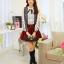 แฟชั่นเกาหลี เสื้อผ้าคอตตอน ทอลายตารางเล็กๆ สีดำขาว แขนยาว หน้าอกเสื้อแต่งด้วยผ้าถักวงกลมสีขาว thumbnail 4