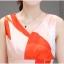 ชุดเดรสแฟชั่น ผ้าคอตตอนทอ โทนสีส้มแดง แขนกุด คอวี เดรสเข้ารูปช่วงเอว thumbnail 7