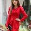 fashion ชุดทำงาน ชุดทํางานเกาหลี สีแดง คอแต่งระบาย แขนยาว กระโปรงสั้นเข้ารูป ซิปข้าง ซื้อเป็นของขวัญให้แฟนน่ารักดีครับ (พร้อมส่ง) thumbnail 2