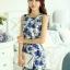 ชุดเดรสสั้น ใส่ทำงาน แฟชั่นเกาหลี ลายดอกไม้ ชุดเดรสสั้นเข้ารูป สีน้ำเงิน แขนกุด ซิปหลัง ใส่ทำงานสวยมากๆครับ (พร้อมส่ง) thumbnail 2