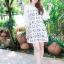 เสื้อผ้าแฟชั่น สุด Chic ชุดเดรสเกาหลี จั๊มแขน รหัส RN46_1 สีครีม thumbnail 2