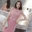 ชุดเดรสสวยๆ ผ้าคอตตอนฉลุลายตามแบบ สีชมพู ตัวเดรสด้านในแขนกุด thumbnail 5