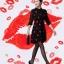 ชุดเดรสสั้น ผ้าชีฟองเนื้อดี สีดำ ปักด้วยด้ายรูปปากสีแดง ทรงหลวม thumbnail 3