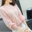 เสื้อผ้าลูกไม้ สีชมพู ชนิดยืดหยุ่นได้ดี ผ้านิ่มมากๆ แขนยาว แขนเสื้อเป็นผ้าชีฟอง thumbnail 4