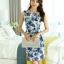 ชุดเดรสสั้น ใส่ทำงาน แฟชั่นเกาหลี ลายดอกไม้ ชุดเดรสสั้นเข้ารูป สีน้ำเงิน แขนกุด ซิปหลัง ใส่ทำงานสวยมากๆครับ (พร้อมส่ง) thumbnail 1