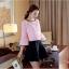 เสื้อผ้าลายดอกไม้ แฟชั่นเกาหลี สีชมพู แขนยาวห้าส่วน thumbnail 3