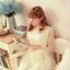 ชุดเดรสสั้น Brand Aimilan (Princess style) ชุดเดรส ผ้าลูกไม้แขนยาวสีครีม ตัวเสื้อผ้าไหมแก้วเนื้อบาง เย็บซ้อนด้วยผ้าลายเส้น สวยมากๆครับ (พร้อมส่ง) thumbnail 6