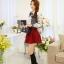 แฟชั่นเกาหลี เสื้อผ้าคอตตอน ทอลายตารางเล็กๆ สีดำขาว แขนยาว หน้าอกเสื้อแต่งด้วยผ้าถักวงกลมสีขาว thumbnail 7