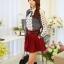 แฟชั่นเกาหลี เสื้อผ้าคอตตอน ทอลายตารางเล็กๆ สีดำขาว แขนยาว หน้าอกเสื้อแต่งด้วยผ้าถักวงกลมสีขาว thumbnail 3