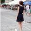 ชุดเดรสสั้น เกาหลี : เดรสชีฟองแขนกุด สีน้ำเงินเข้ม แต่งคอมุก ใส่เที่ยวสวยมากๆ ครับ ฟรีไซส์ thaishoponline (พร้อมส่ง) thumbnail 4