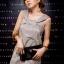 DRESS ชุดเดรสแฟชั่น ใส่ทำงาน ใส่เที่ยว ผ้าซาติน สีเทาอมเขียว สม็อคอกด้านหลัง น่ารัก สามารถใส่ออกงานได้ สวยมากๆ จ้า thaishoponline (พร้อมส่ง) thumbnail 2