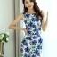 ชุดเดรสสั้น ใส่ทำงาน แฟชั่นเกาหลี ลายดอกไม้ ชุดเดรสสั้นเข้ารูป สีน้ำเงิน แขนกุด ซิปหลัง ใส่ทำงานสวยมากๆครับ (พร้อมส่ง) thumbnail 5