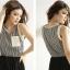 DRESS ชุดเดรสแฟชั่นแขนกุด คอกลม ผ้าชีฟอง กระโปรงอัดพลีท สีดำ - ขาว จั๊มเอว ใส่ทำงาน เที่ยว น่ารัก thaishoponline (พร้อมส่ง) thumbnail 4