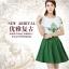 ชุดเดรสสั้น แฟชั่นเกาหลี ผ้าชีฟอง เนื้อดีสีขาว ปักลายดอกไม้ที่หน้าอกและแขนเสื้อสีเขียว คอและปลายแขนเสื้อจั๊ม thumbnail 4